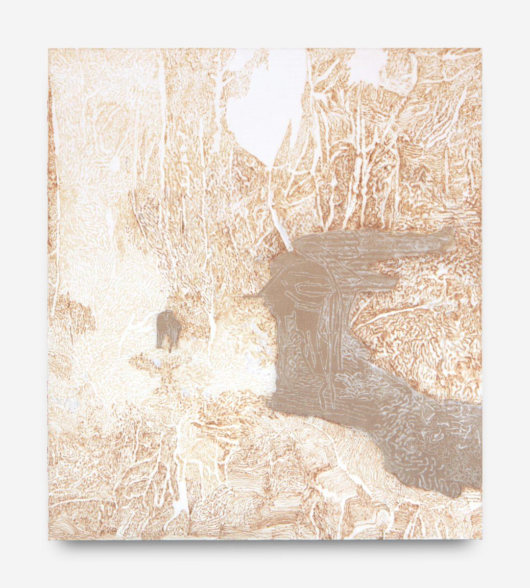 Kite Fungus Sznycel in Soviet Era, cotton and  acrylic needlework on  linen, 150 x 170 cm, 2018-