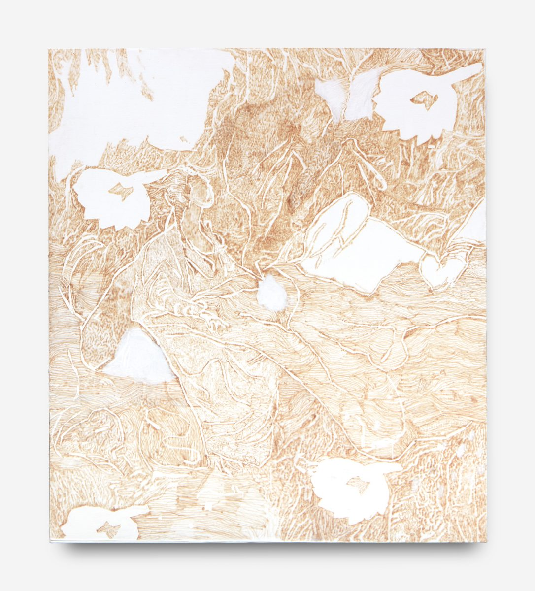 Unpicked Boarders - Mushroom Coloured Pages | acrylic and cotton needlework on linen | 150 x 170cm | 2018