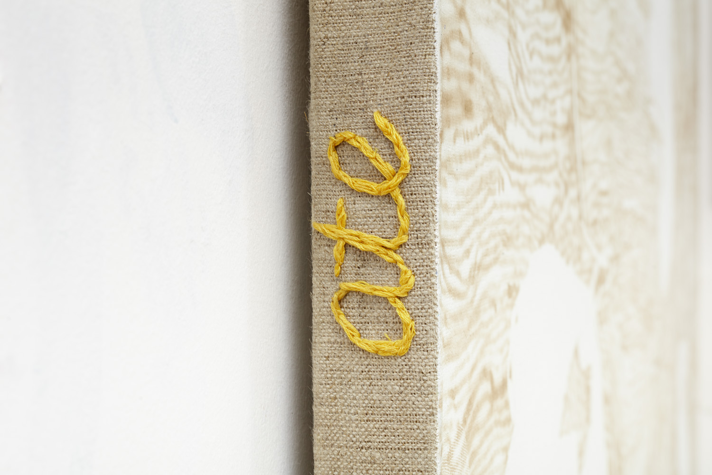 Ips Typographus Ate my Homework (detail) | acrylic and cotton needlework on linen | 150 x 170cm | 2018